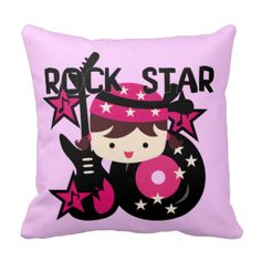 Your little rock star will love this pretty in pink Brunette Girl Rock Star pillow featuring a girl in a skull cap of pink with stars, a guitar, and record album! #cute #colorful #fun #mojo #pillow #pink #rock #star #rocker #girls #musical #music #pretty #bright