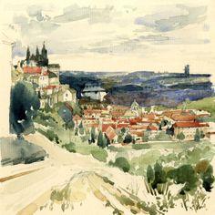 Watercolour Sketch - Hills above Prague