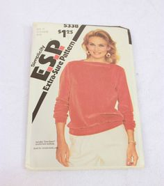 Vtg Simplicity ESP 5338 Misses Pullover Top Pattern Size 12 14 16 Retro Style