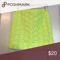 Adorable neon, floral embroidered mini skirt Only worn a few times! Neon embroidered floral pattern. From J. Crew. J. Crew Skirts Mini