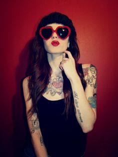 Ink, Perfect girls, and tattoos Sexy Tattoos, Girl Tattoos, Tattoos For Women, Tattoo Girls, Tatoos, Fashion Tattoos, Tattooed Women, Heart Shaped Glasses, Heart Glasses