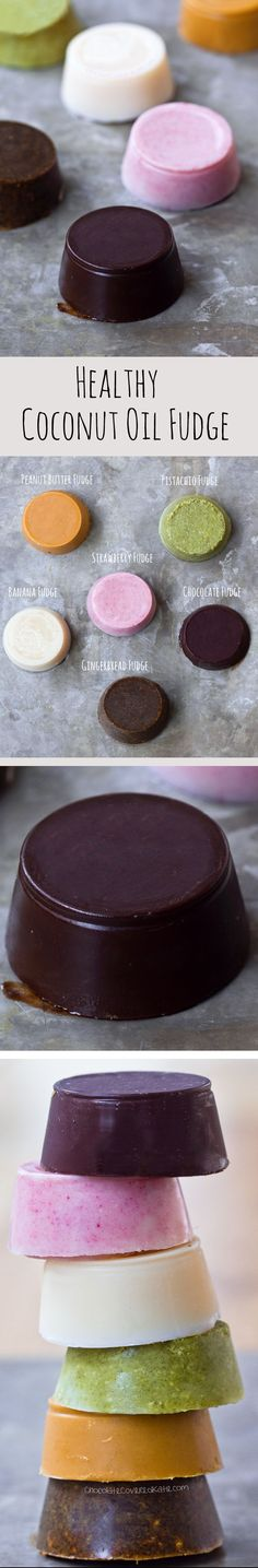 Coconut Oil Fudge - 3 Ingredients, healthy & vegan, EASY to make - FLAVORS include chocolate, pistachio, peanut butter: http://chocolatecoveredkatie.com/2016/07/18/coconut-oil-fudge-recipes/ /choccoveredkt/