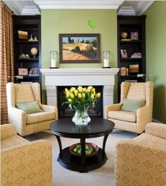 Houzz: Contemporary Living Room by Maria Killam - 4 chairs around a round coffee table - no sofa & 61 best Furniture Arrangement - Four Chairs images on Pinterest ...