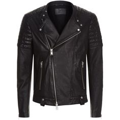 AllSaints Jasper Leather Biker Jacket ($500) ❤ liked on Polyvore featuring men's fashion, men's clothing, men's outerwear, men's jackets, mens real leather jackets, mens leather biker jacket, mens leather moto jacket, mens leather jackets and mens leather motorcycle jacket