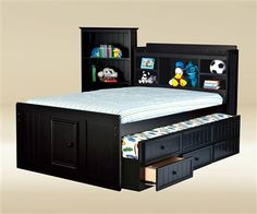 Good Trading Black full size captains trundle bed Kids Bedroom Furniture captain's beds and kids bed with trundle and storage