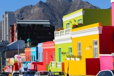 Going downhill on Wale Street - a Mosque's minaret can be seen far Colorful Pictures, Virtual Tour, Mosque, Cape Town, South Africa, Tours, Paint, Street, Travel