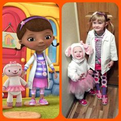 Doc McStuffins and Lambie.I can see Anna dressing up as Lambie for her big sissy! Sister Halloween Costumes, Hallowen Costume, Halloween 2016, Family Halloween, Holidays Halloween, Girl Costumes, Happy Halloween, Halloween Party, Costume Ideas
