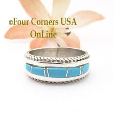 Four Corners USA Online - Size 7 1/2 Turquoise Inlay Rope Band Ring Navajo Wilbert Muskett Jr WB-1781, $145.00 (http://stores.fourcornersusaonline.com/size-7-1-2-turquoise-inlay-rope-band-ring-navajo-wilbert-muskett-jr-wb-1781/)