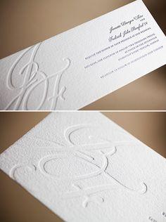 This custom designed #10 invitation is so sophisticated - we love the blind deboss monogram
