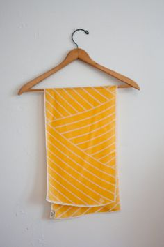 Vintage silk scarf / yellow and white geometric