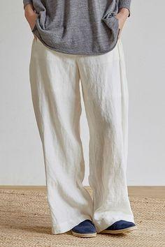 Loose Beige And Blue Linen Wide-leg pants Women Casual Trousers K18031 Wide Leg Linen Pants, Linen Trousers, Best Work Pants, Pants For Women, Clothes For Women, Amazing Women, Beige, Casual, Jeans