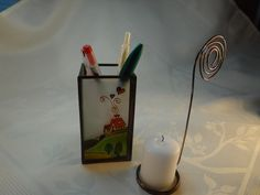 Items similar to Farm Painted Glass Candle Holder on Etsy