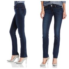 Paige skyline straight jeans Paige skyline straight jeans.  Dark wash with faded areas.  Cotton/polyester/elastane.  Pre loved.  Worn a few times.  Minor pulling in the thighs.  No rips, tears or stains. Paige Jeans Jeans Straight Leg