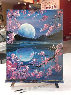 "#WineDown your night with the perfect view: ""Lucid Lake""   Find this event: https://www.paintingwithatwist.com/paintings/lucid-lake-11700"