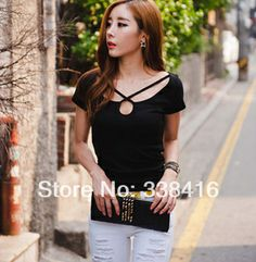 2014 Spring Summer New Classic Women's Vestuario Slim Cross Low-Cut Collar Short Sleeve T-shirt Femininas Vestidos Casual Tops $11.98
