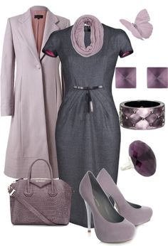 """Modest doesn't mean frumpy. Sign up for modest fashion tips: www.ColleenHammond.com Do your clothing choices, manners, and poise portray the image you want to send? """"Dress how you wish to be dealt with!"""" (E. Jean)  """"Lilac Office Set"""" by sj-mora on Polyvore"""