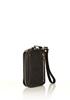 Fumo Large Wristlet In Pebbled Black With Rosegold Alternate View