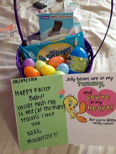 Easter basket for girlfriendboyfriend im so hoppy youre in my my easter gift for my boyfriend negle