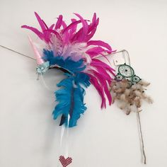 Unicorn Mohawk in Pink/blue Rave Unicorn Feather by JrPastiesLove