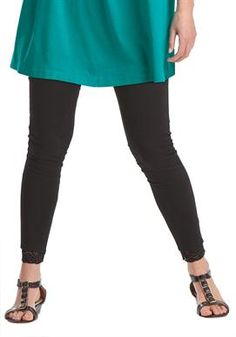 Lace Trim Stretch Leggings | Plus Size Leggings | Woman Within