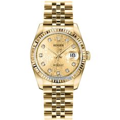 Rolex Datejust 36mm Yellow Gold 116238 Jubilee Champagne Diamond... ($25,420) ❤ liked on Polyvore featuring jewelry, watches, accessories, rolex wrist watch, champagne diamond jewelry, diamond bezel watches, diamond dial watches and diamond watches