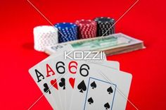 full house six - Poker hand displaying full house six with pair of ace as kicker.