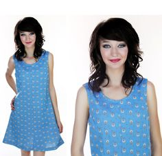Mod ALine Dress Blue Floral 60s 70s MOD Mini by neonthreadsdesigns, $37.00