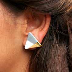 triangle porcelain earrings gold dipped by ashjewelrystudio