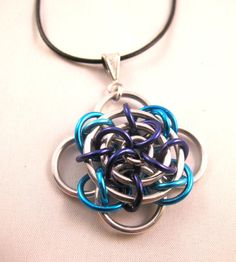 Gaelic Rose Chainmaille Pendant - Blue and Silver tone - Bright and Anodized Aluminum - Chainmail Jewelry