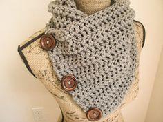 Ready to Ship Infinity Crochet Scarf Gray Crochet by ScarvesbyDR
