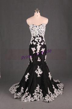 Latest black taffeta evening dresses with ivory by PrincesssBride