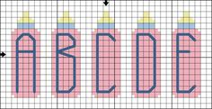 Free Baby Bottle Alphabet - Free Baby-Themed Cross Stitch Pattern: Free Baby Bottle Alphabet Cross Stitch Pattern - Letters A to E