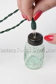 mason jar lights | ... Mason Jar Light Covers - String Lights - Lighting - Primitive Decor