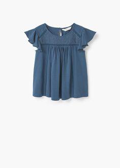 Embroidered detail cotton t-shirt | MANGO KIDS