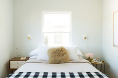 modern bedroom decor in glendale, california / sfgirlbybay / Sconces, brass hairpin table + buffalo check by Schoolhouse Electric
