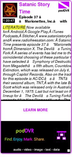 """#LITERATURE #PODCAST  Satanic Story Time    Episode 37 – """"Marionettes, Inc."""" with Special Guest Rachael Mantle    LISTEN...  http://podDVR.COM/?c=b6b6fc26-810e-f88c-b5d3-9d6ec4bf7cff"""