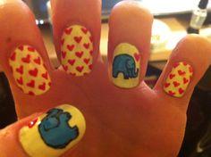elephant hearts nail art; mine