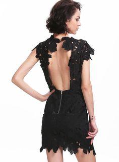 Black Short Sleeve Floral Crochet Bodycon Dress - Sheinside.com