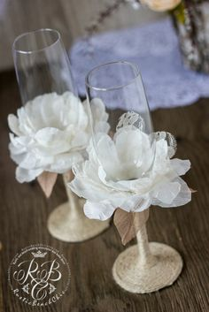 Vintage Chic  Wedding Champagne Glasses  with by RusticBeachChic