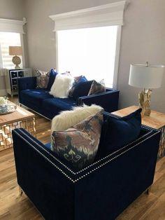 blue living room design ideas you must have 1 Blue Living Room Decor, Glam Living Room, Interior Design Living Room, Living Room Designs, Bedroom Decor, Blue And Gold Living Room, Blue Home Decor, Deco Studio, Blue Furniture