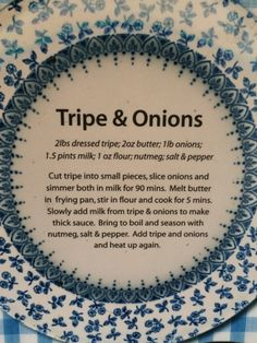 Tripe and Onion Recipe Tripe Recipes, Onion Recipes, Cookbook Recipes, Cooking Recipes, Healthy Recipes, Pork Bacon, South African Recipes, Vintage Cookbooks, Meat Chickens