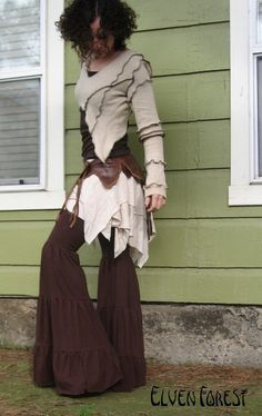 Temple Leg Flares in black cream brown light brown by ElvenForest, $64.00