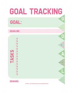 Free printable goal tracking worksheet