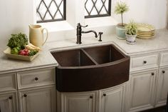 A Sink with Character... Copper -kitchen-sinks! love this deep sink.