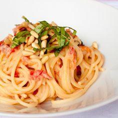 Spaghetti with Creamy Tomato-Lemon Sauce #recipes