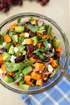 Roasted Sweet Potato Salad with Spinach, Grapes, Dried Cranberries, and Avocado #sweetpotato #salad #sidedish