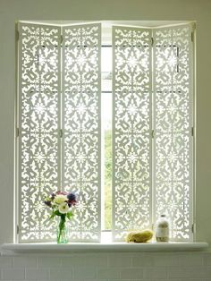 New Bathroom Window Treatments Privacy Interior Shutters 60 Ideas Bathroom Window Treatments, Bathroom Windows, Bathroom Window Privacy, Bathroom Blinds, Bathroom Window Dressing, Bathroom Wallpaper, Wallpaper Door, Bath Window, Window Treatments Living Room Curtains