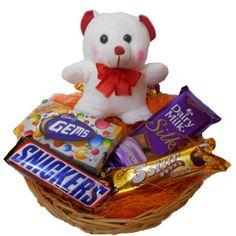 Teddy with chocolate basket