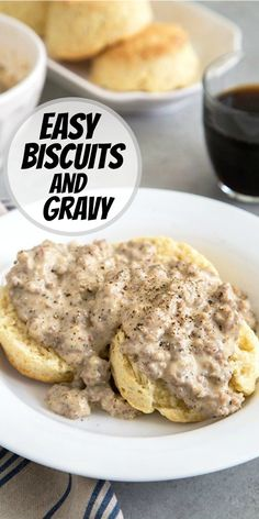 Easy Biscuits and Gravy recipe from RecipeGirl.com #easy #biscuits #gravy #recipe #RecipeGirl