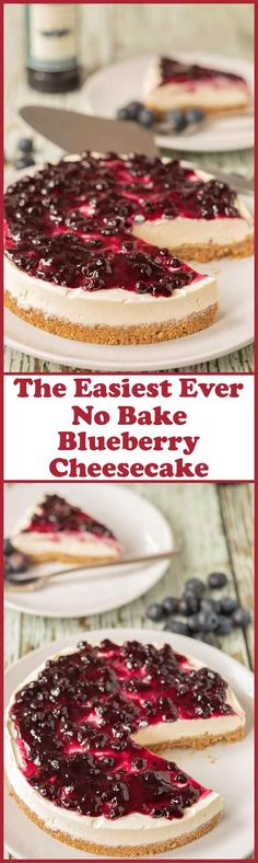 The easiest ever no bake blueberry cheesecake is the only blueberry cheesecake you will ever need. This is as quick and easy as cheesecake recipes get. No matter what the season is this cheesecake is perfect for all occasions! #neilshealthymeals #cheesecake #nobakecheesecake #blueberry #blueberries #blueberrycheesecake #dessert #pudding via @neilhealthymeal